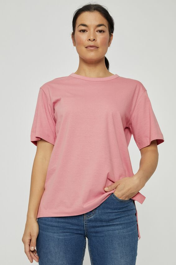 Organic Oversized Daily Step Hem Tee, WASHED PINK