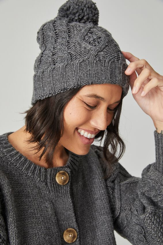 Cable Knit Beanie, CHARCOAL MARLE
