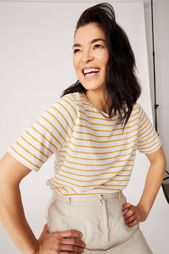 Linen Weekend Tee, WHITE/GOLDEN SUN STRIPE