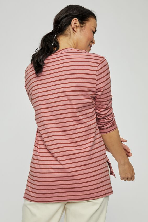 Organic Oversized Daily Ls Step Hem Tee, WASHED PINK RIST MIDI STRIPE