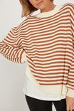 Oversized Stripe Split Hem Jumper, TAN/ECRU STRIPE