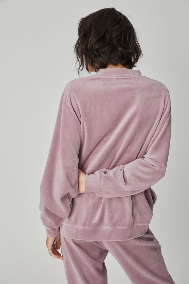 Velour Oversized Sweater, MAUVE SHADOW