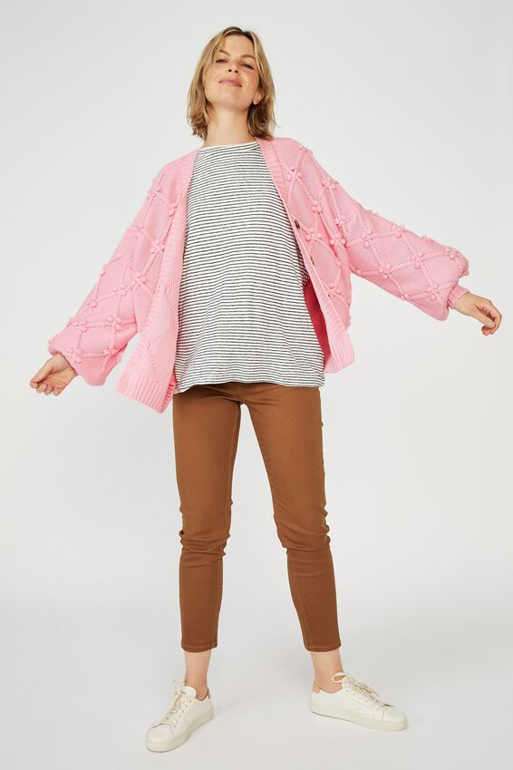Cotton Bobble Cardigan, CANDY PINK