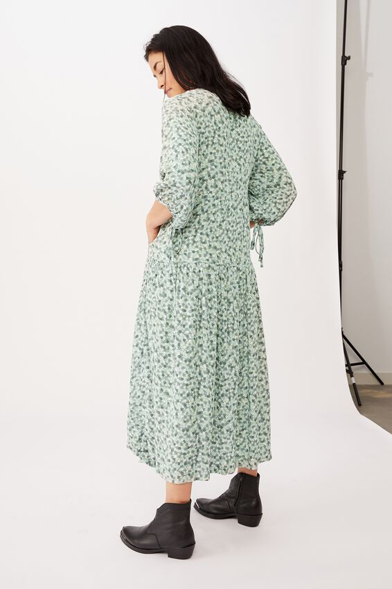 Picnic Wrap Dress, PALE GREEN FLORAL