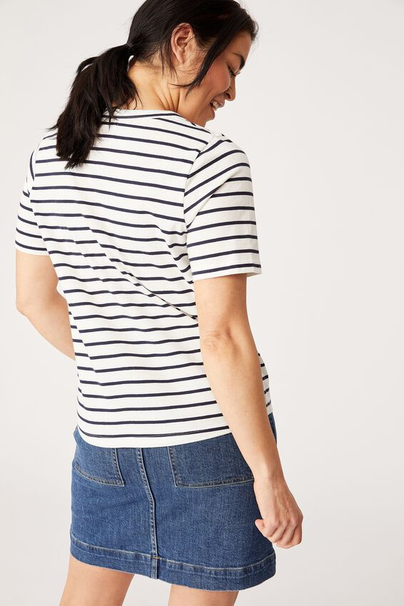 Organic U Neck Daily Tee, WHITE/NAVY WIDE STRIPE