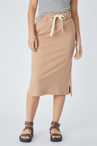 Organic Midi Tube Skirt In Organic Cotton, CAMEL