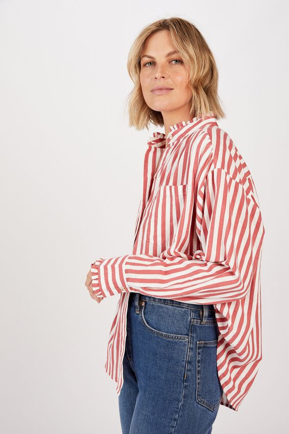 Classic Frill Shirt, ROSEWOOD STRIPE