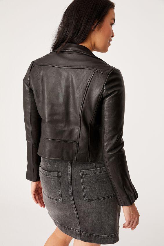 Museum Clothing Leather Austin Jacket, BLACK