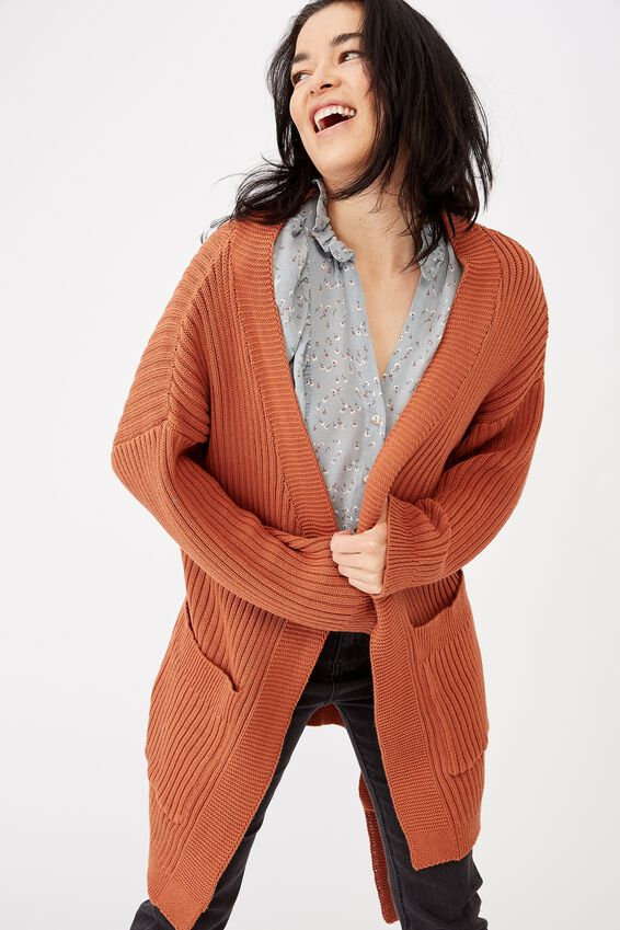 Belted Wrap Cardigan, TAN