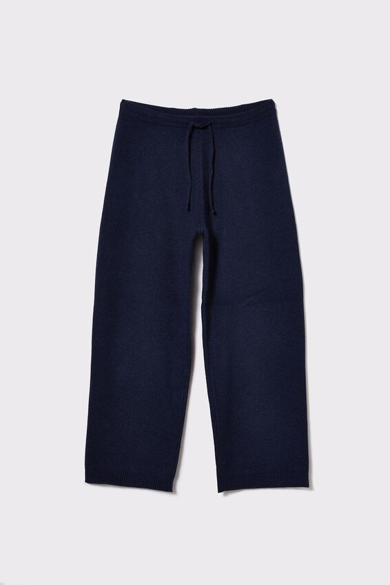 Soft Knit Wide Leg Pant, NAVY MARLE