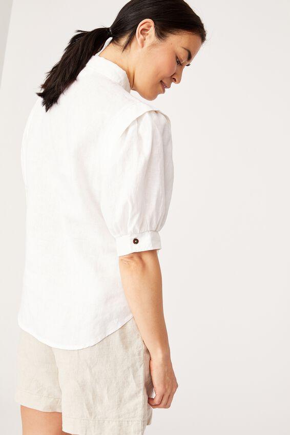 Linen Puff Sleeve Shirt, WHITE