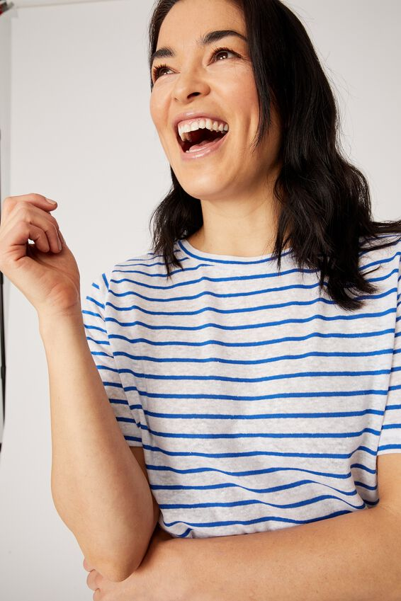 Linen Weekend Tee, WHITE/COBALT STRIPE