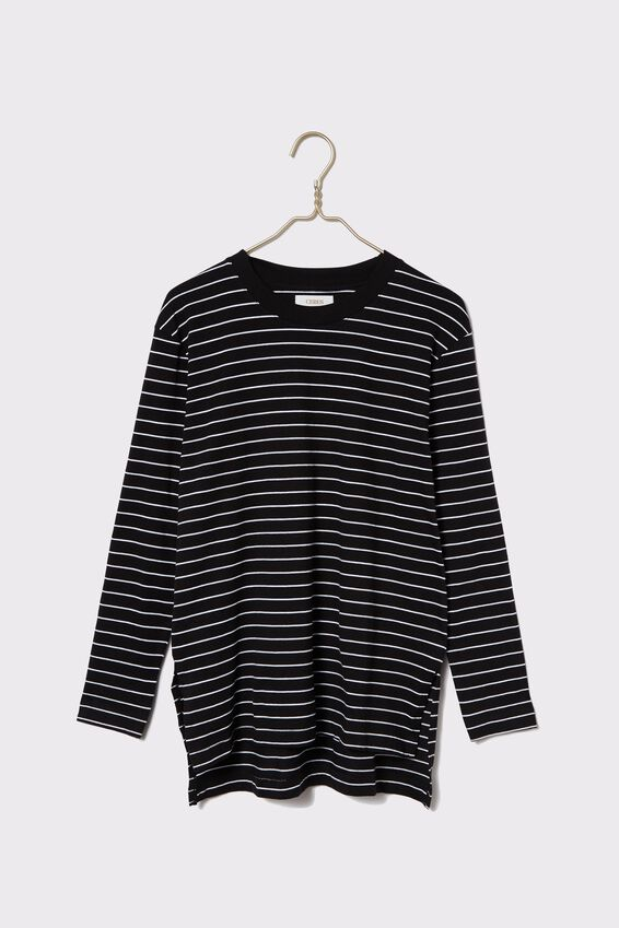 Organic Oversized Daily Ls Step Hem Tee, black/white stripe
