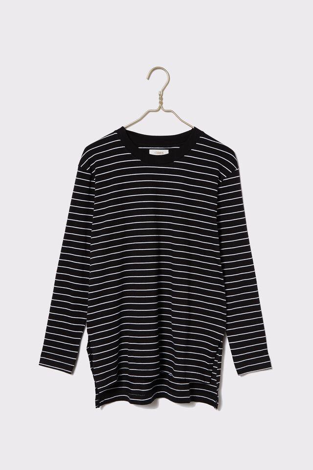 Organic Oversized Daily Ls Step Hem Tee, black/white stripe