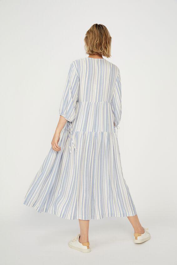 Picnic Wrap Dress, BLUE/WHITE STRIPE