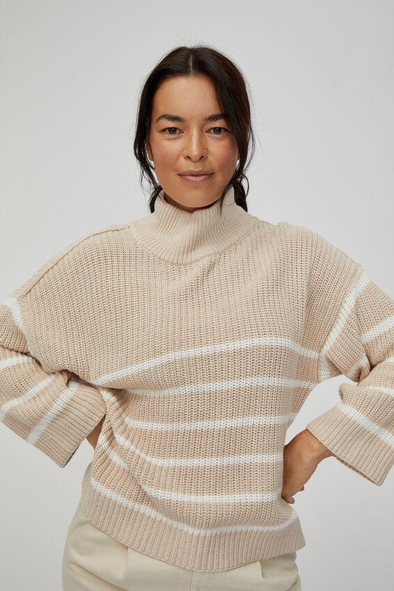 Australian Cotton Oversized High Neck Jumper, PEBBLE WHITE STRIPE