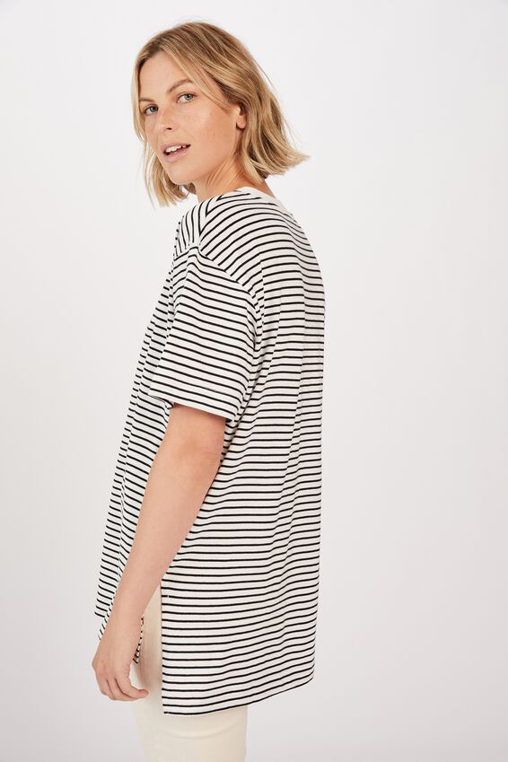Organic Oversized Daily Step Hem Tee, WHITE BLACK STRIPE