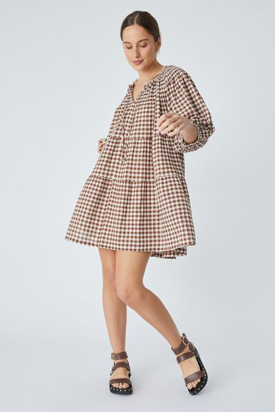 Shirred Puff Sleeve Mini Dress In Organic Gingham, WHITE AND BISON GINGHAM CHECK