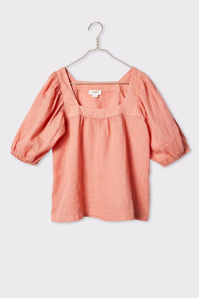 Linen Square Neck Puff Sleeve Tunic, SPICED PINK