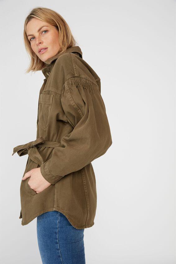 Utility Pin Tuck Jacket, SOFT OLIVE