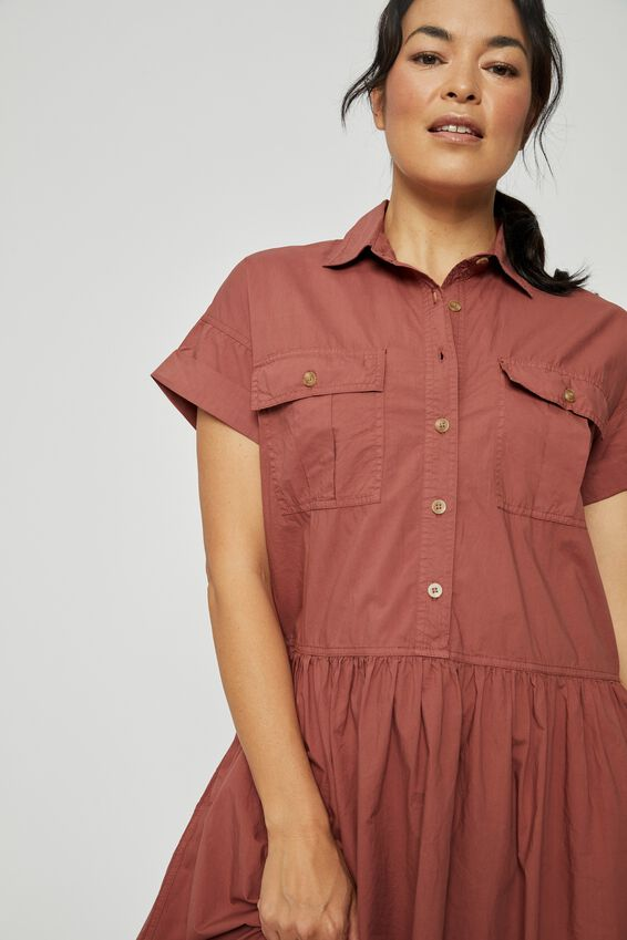 Organic Drop Waist Shirt Dress, RUST
