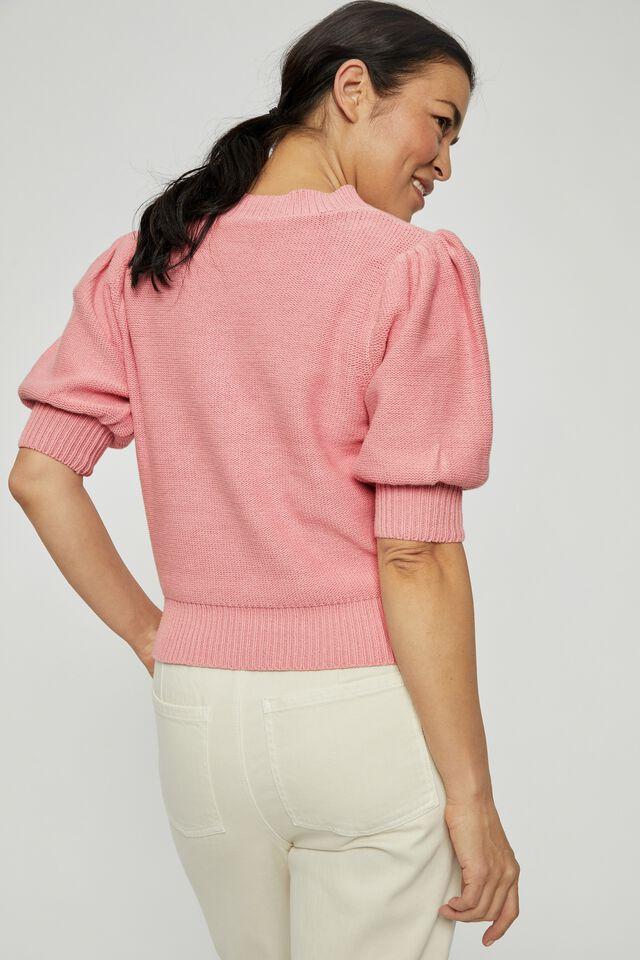 Australian Cotton Short Puff Sleeve Knit, WASHED PINK