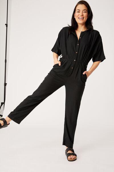 Viscose Linen Jumpsuit, black