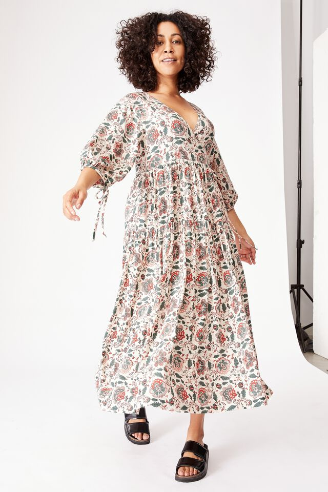 Picnic Wrap Dress, LARGE RED FLORAL