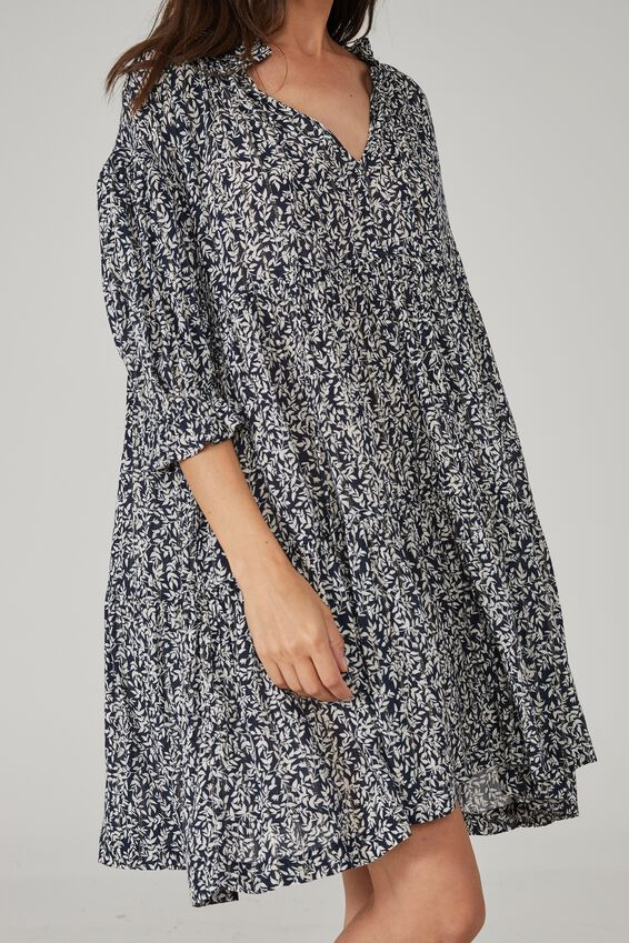 Short Ruffle Tiered Dress, INK METALIC FLORAL