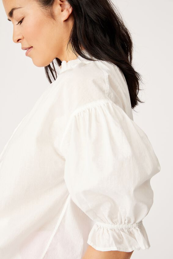 Ruffle Neck Tunic, WHITE
