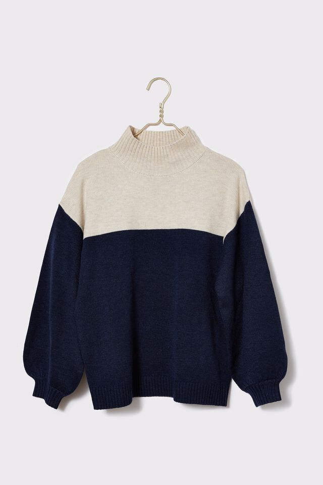 Soft High Neck Slouch Jumper, OATMEAL MARLE NAVY MARLE COLOUR BLOCK