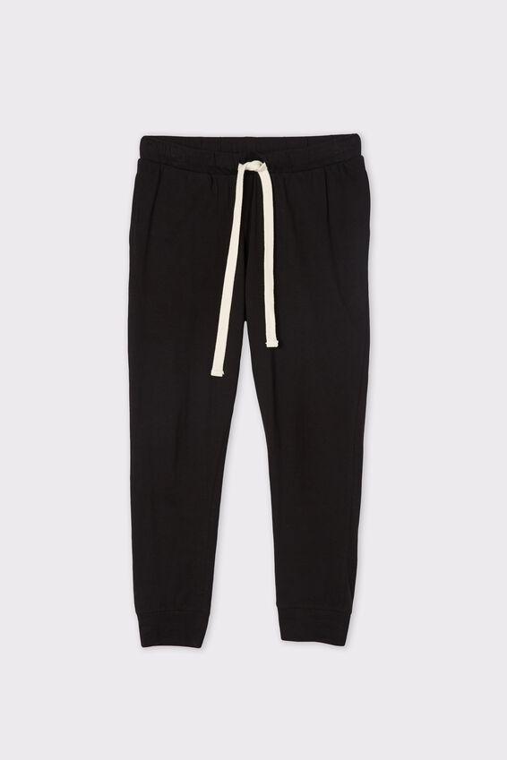 Organic Cotton Jersey Pant, BLACK