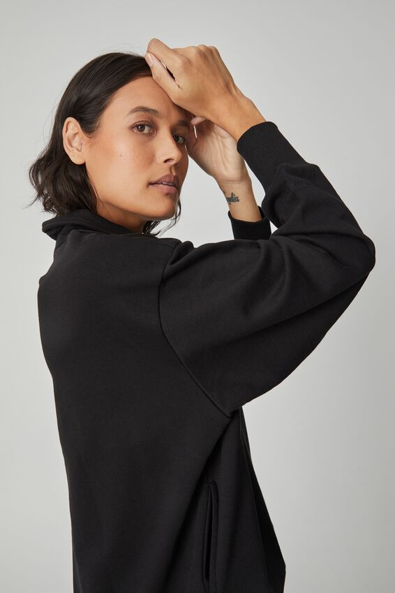 Organic Oversized Henley Polo Sweat, BLACK
