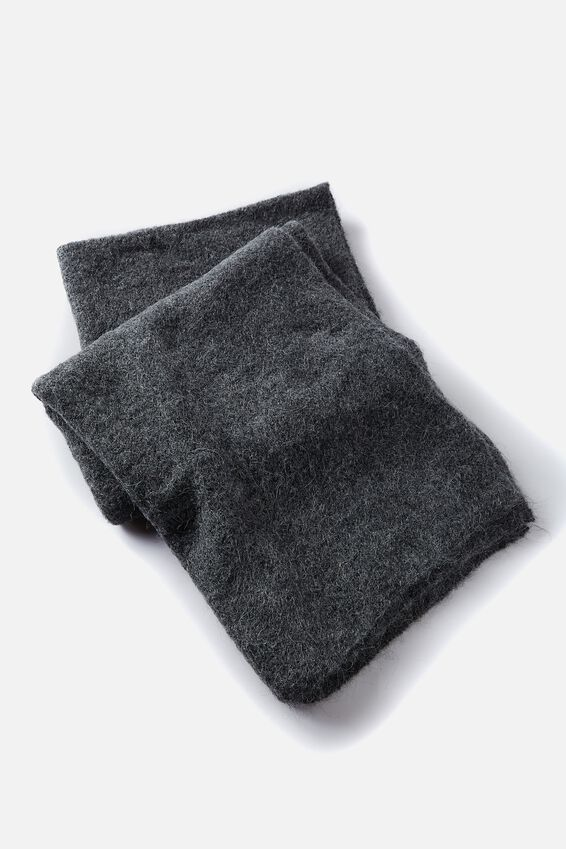 Alpaca Wool Blend Oversized Knit Scarf, CHARCOAL