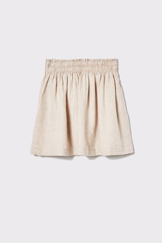 Linen Mini Skirt, PEBBLE