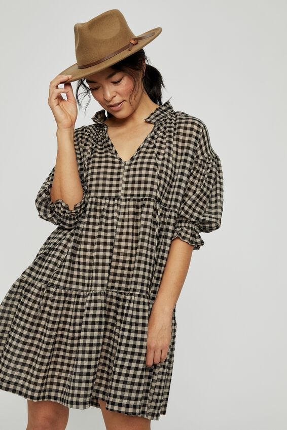Short Ruffle Tiered Dress, PEBBLE BLACK CHECK