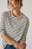 BLACK AND WARM WHITE MIDI STRIPE