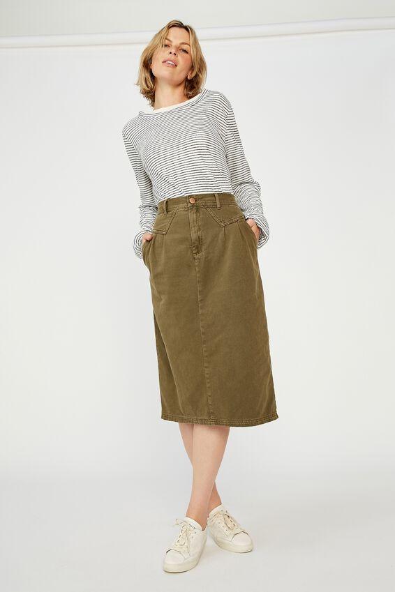 90S Midi Skirt, SOFT OLIVE