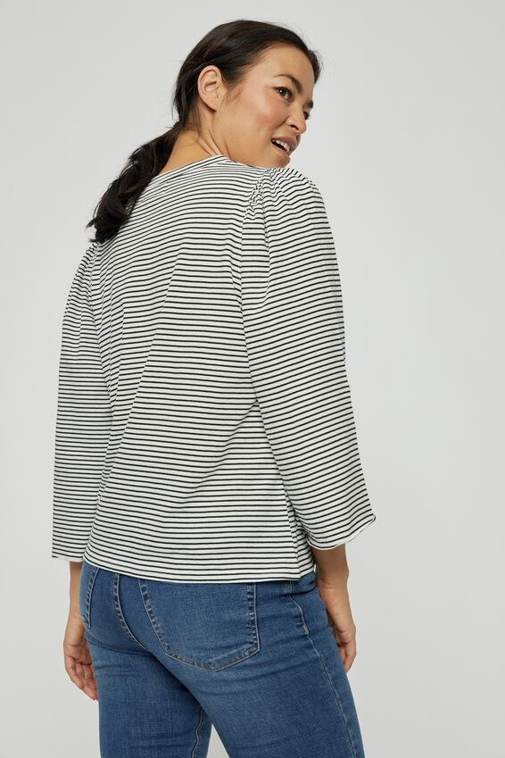 Organic Gathered Bell Sleeve Tee, MINI BLACK WHITE STRIPE