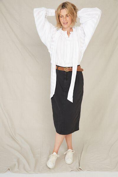 90S Midi Skirt, BLACK