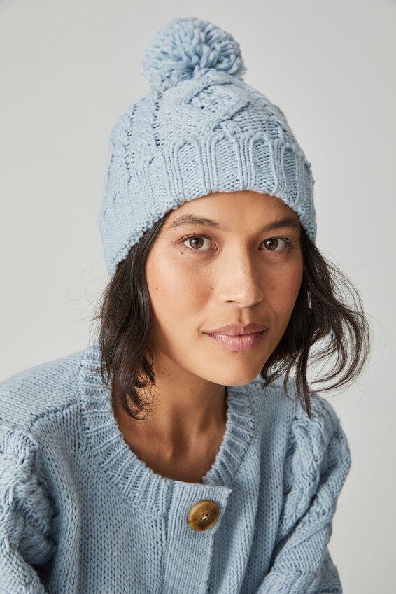 Cable Knit Beanie, BLUE FOG