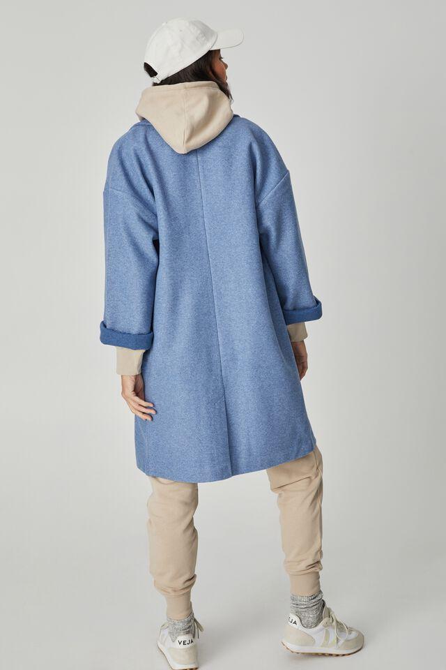 Longline Coat, CORNFLOWER