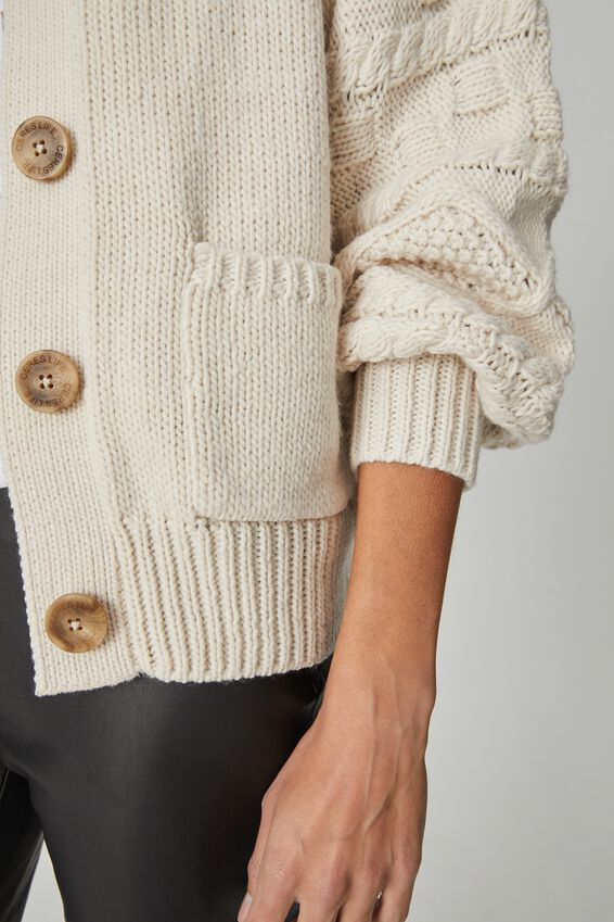Cable Sleeve Cardigan, LIGHT STONE