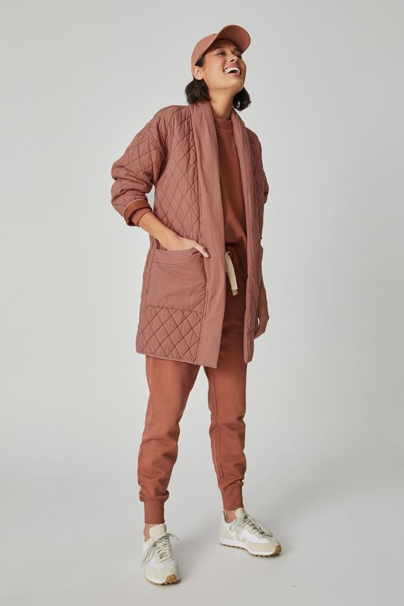 Longline Quilted Jacket, RUST