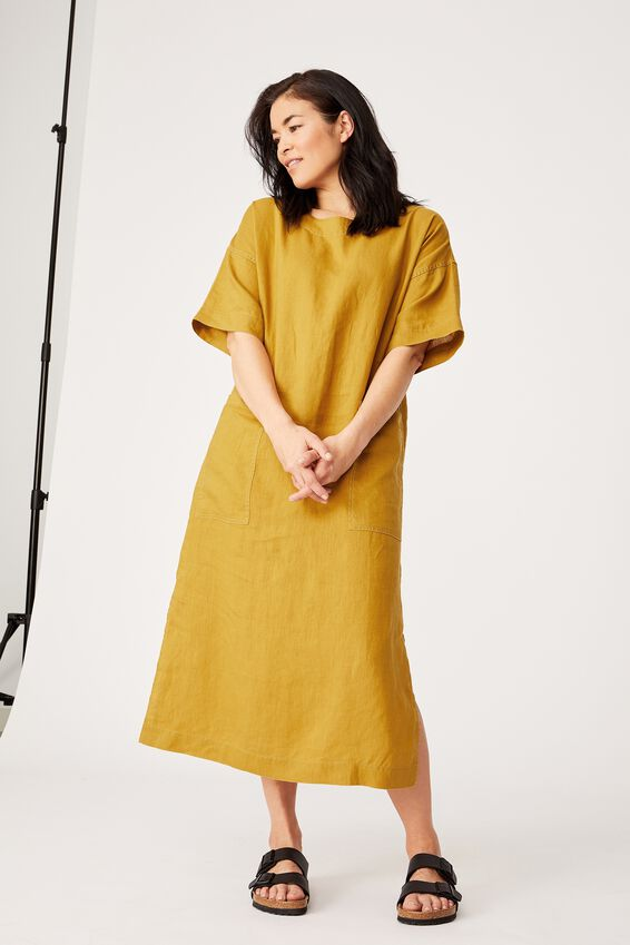 Linen Midi Pocket Dress, GOLDEN SUN