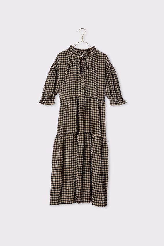 Ruffle Tiered Dress, PEBBLE BLACK CHECK