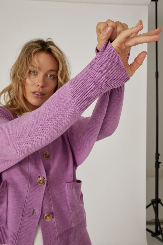 Soft Boxy Knit Cardigan, ORCHID MARLE