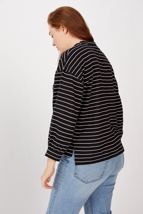 Bell Sleeve Long Sleeve Tee, BLACK/WHITE STRIPE