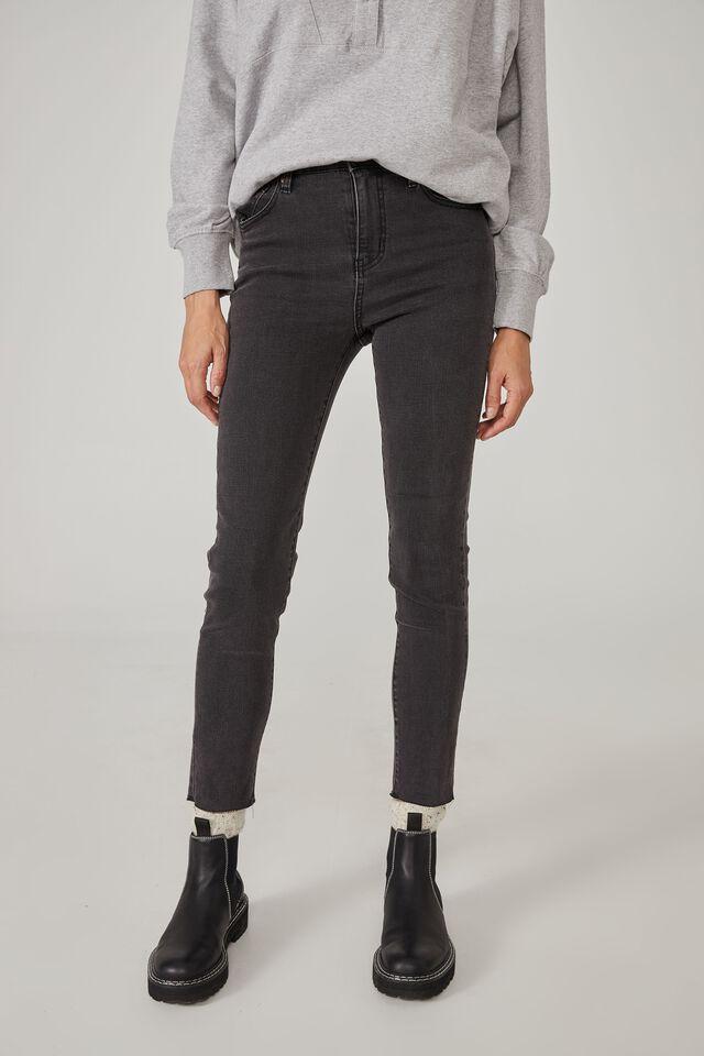 Raw Hem Skinny Leg Jean, BLACK WASH