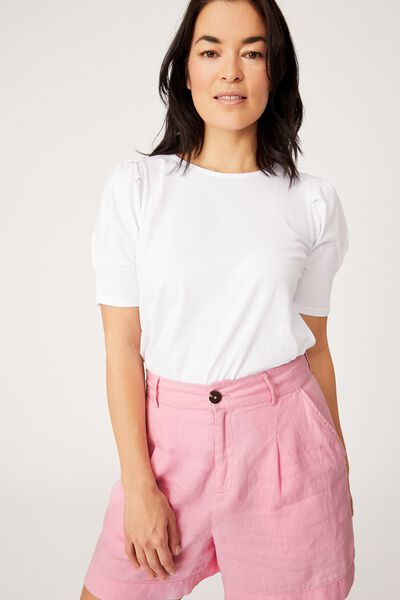 Organic Cotton Puff Sleeve Tee, WHITE